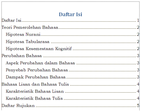 Membuat Daftar Isi Table Of Contents Hsr Just Want To Share